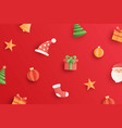 christmas with objects and element in paper art vector image
