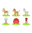 collection farm animals such as cow horse vector image vector image