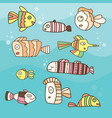 collection of abstract fish on blue background vector image vector image
