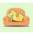 color character cat lying on the sofa wit vector image vector image
