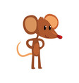 cute brown mouse standing on two legs with hands vector image vector image