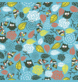 cute seamless pattern with funny doodle owls vector image vector image