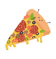 cute slice pizza character funny pizza vector image