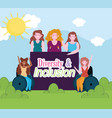 diverse group women young female and disability vector image vector image