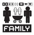 Family Icons - Man Woman Children and Baby vector image vector image