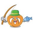 fishing pretzel mascot cartoon style vector image vector image