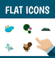 flat icon natural set of bird lotus pond and vector image vector image