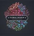 floral bouquet dark design with succulent vector image