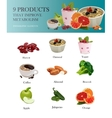 Food isolated icons set Metabolism concept vector image