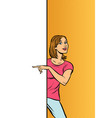 girl woman points to copy space poster advertising vector image vector image