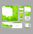 Green corporate identity template with polygons vector image vector image