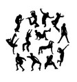 happy break dance silhouettes vector image vector image