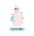 happy easter with cute rabbit vector image vector image