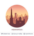 indianapolis famous city scape vector image vector image