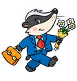 little funny badger goes to school vector image vector image
