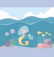 mermaid turtle fishes reef coral cartoon under vector image vector image