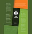 minimalist green resume cv template vector image vector image