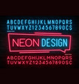 neon light alphabet realistic extra glowing font vector image