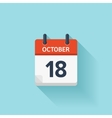 October 18 flat daily calendar icon Date vector image vector image