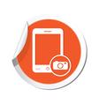 phone camera icon orange sticker vector image vector image