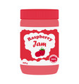 raspberry jam in glass jar made in flat style vector image vector image