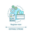 register now concept icon vector image vector image