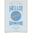Retro new year poster with a cheerful greeting vector image