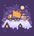 santa claus in a yellow tipper truck on a rooftop vector image vector image