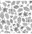 seamless doodle leaf background monochrome vector image