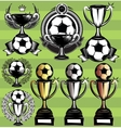 set monochrome league icons with soccer vector image vector image