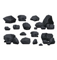 set of coal black mineral resources fossil stone vector image