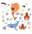 set of cute nautical elements vector image