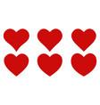 set red shape heart icon set heart shape vector image