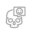skull with happy face in speech bubble line icon vector image vector image