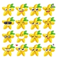 smiles set fruit characters cute vector image