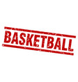square grunge red basketball stamp vector image vector image