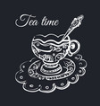 tea time poster with cup of tea vector image