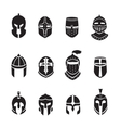 Warrior helmets black icons or logos set Knight vector image