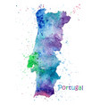 watercolor map portugal stylized image vector image vector image