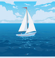 White boat with sail and red flag
