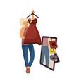woman chooses dress clothing store shopping vector image