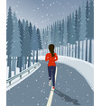 woman run on road surrounded by forest and snow vector image vector image