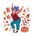 young chubby woman surrounded autumn objects vector image vector image