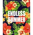 Tropical Background with Endless Summer Lettering vector image