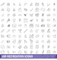 100 recreation icons set outline style vector image vector image