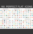 180 modern flat icons set of seo optimization web vector image