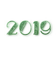 2019 glitter typography design green sparkling vector image vector image