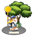 A girl skateboarding at the pedestrian lane vector image vector image