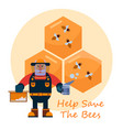 beekeeping concept with beekeper in hat and honey vector image