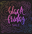 black friday sale template with hand lettering vector image